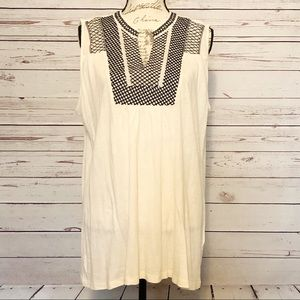 Lucky Brand Sleeveless Blouse w/ Embroidered Neck